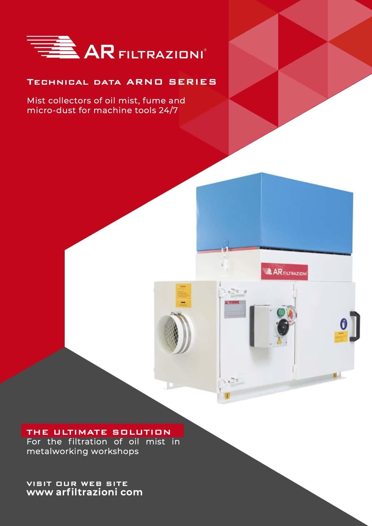 AR Filtrazioni Case History Portfolio Filtrazione Nebbie Oleose ARNO – Technical data sheet air cleaner and oil mist collector