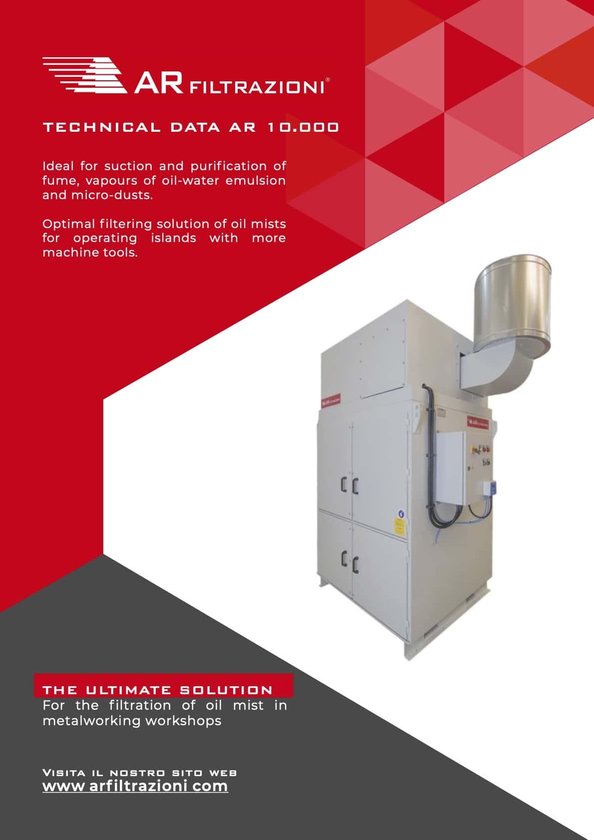 AR Filtrazioni Case History Portfolio Filtrazione Nebbie Oleose AR1000 – Suction and purification of oil mist produced during wet machining processes