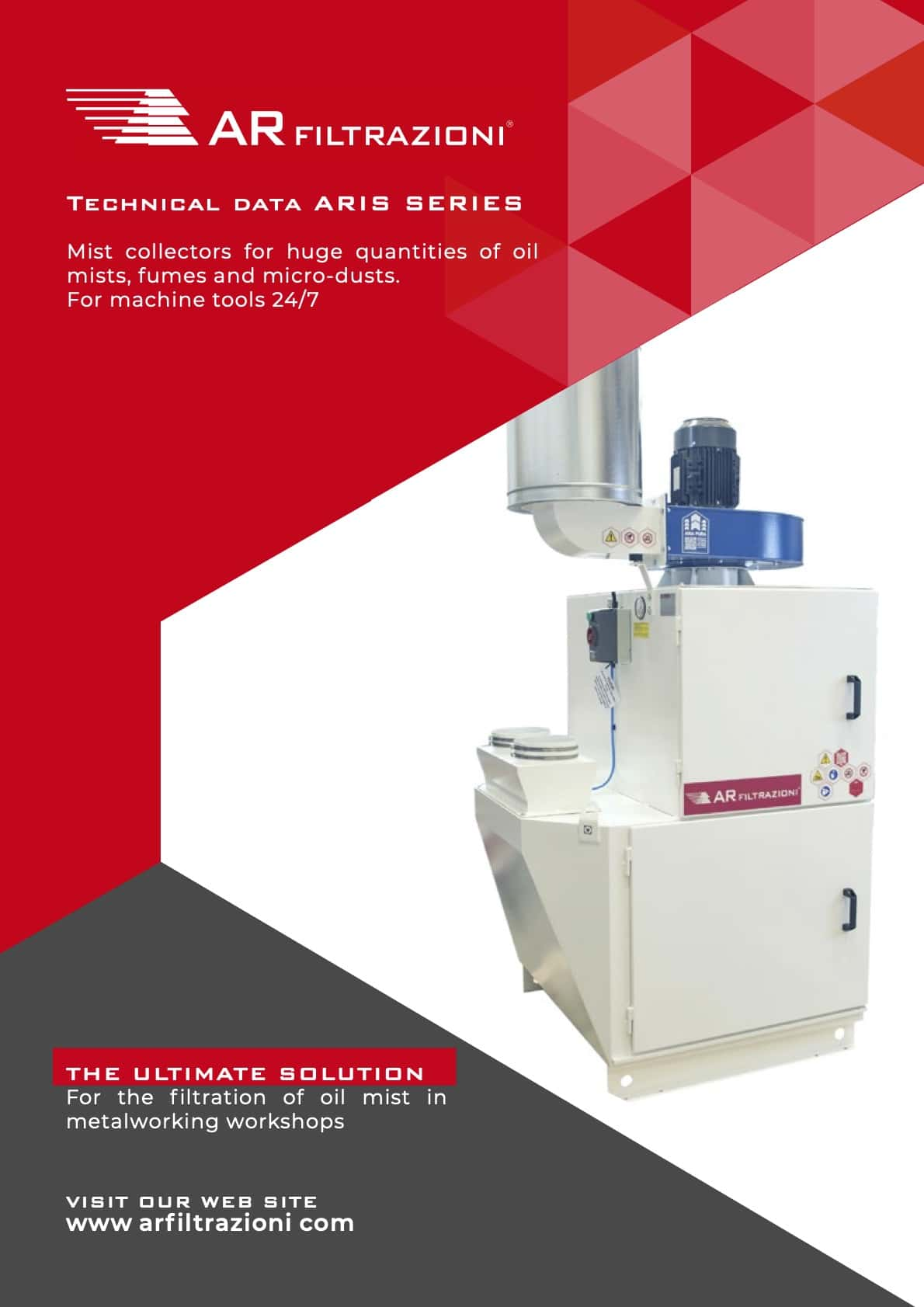 AR Filtrazioni Case History Portfolio Filtrazione Nebbie Oleose ARIS – Suction and purification of oil mist and dust produced during wet and dry machining processes